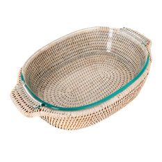 """Artifacts Rattan™ Oval Baker Basket with Pyrex, White Wash, 12""""x8"""""""