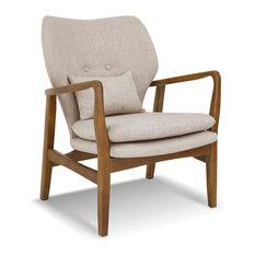 Poly and Bark Atreya Chair With Walnut Wood, Beige