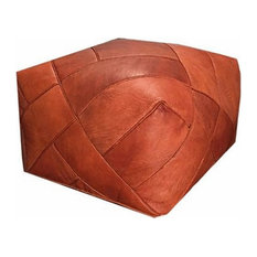 Zigzag Moroccan Pouf Ottoman Leather, Rustic Brown, Stuffed