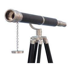 Floor Standing Brushed Nickel With Leather Galileo Telescope 65''