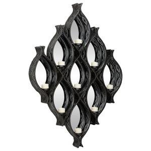 12.25 x 5.5 x 19.75 Gray Scones Black Benzara Artfully Authentic Resin Baroque Wall Sconce