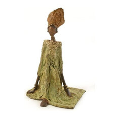 Burkina Faso Bronze Seated Lady Sculptures, Large
