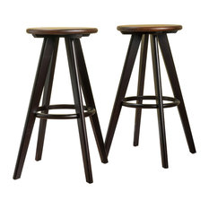 GDFStudio - Byre Traditional Wood Finished Bar Stools, Set of 2, Walnut - Bar Stools and Counter Stools