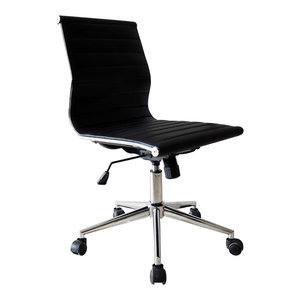 Set of 2  Designer Ergonomic Mid-Back Armless Office Chair Ribbed For Conference