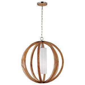 Wood Effect Large Pendant, Brushed Steel
