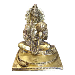 "Mogulinterior - Yoga Gift- Hindu God Hanuman Statue Brass Decor Indian Religious Figurines 7.5"" - Decorative Objects And Figurines"
