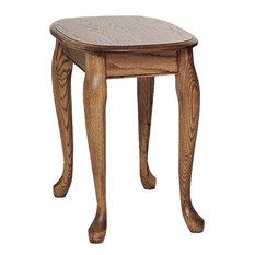 The Oak Furniture Shop   Queen Anne Solid Oak Chair Side Table, Autumn Oak