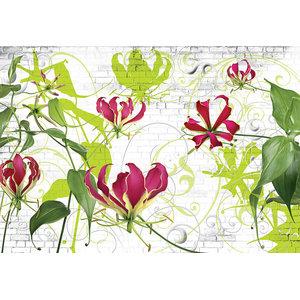 Gloriosa Climbing Lily Abstract Photo Wall Mural, 368x254 cm