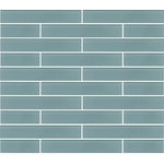 """Rocky Point Tile Co - Jasper Blue Gray Glass Subway Tile, 2""""x12"""" Tiles, Set of 6 - A gentle light blue with a slightly gray undertone. An easy to work with color that's perfect for a shower or tub surrounds. Combine this great tile with another one of our subway tiles or mosaics for a coordinated look! Our Vegas 10mm glass mosaic tiles includes Jasper Blue making for a great accent strip. Jasper is also available in our Glass Arabesque Series, Linear Mosaic Tiles, 3x6 and 4x12 Glass Subway Tiles and Glass Pencil Trim!"""