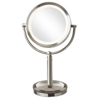 Martin Tabletop LED-Lighted Magnifier Mirror, Satin Chrome