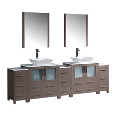 "96"" Gray Oak Double Sink Bathroom Vanity, 3 Side Cabinets and Vessel Sinks"