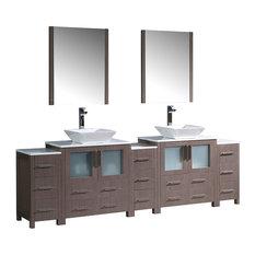 """96"""" Gray Oak Double Sink Bathroom Vanity, 3 Side Cabinets and Vessel Sinks"""