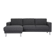 Cleveland Chaise Longue Sofa, Anthracite, Left Hand,Without Neck Pillow