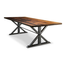 Jackson Double Pedestal Reclaimed Wood Dining Table 56x120