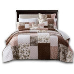 DaDa Bedding Collection - Bohemian Patchwork Dusty Rose Pink & Chocolate Brown Floral Bedspread Set, King - Dream sweetly with our softly muted multi colorful patchwork quilted pattern bedspread for a dreamy rose and chocolate look added to your bedroom.