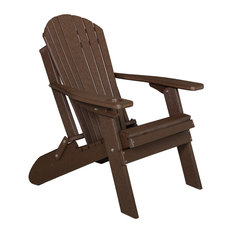 Deluxe Premium Poly Lumber Folding Adirondack Chair With Cup Holder, Brown