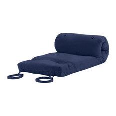 Modern Futon Mattress, Navy Blue Cotton Twill, Roll Up Design for Easy Storage