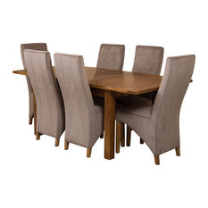Cotswold Rustic Oak Extending Dining Table, 6 Lola Chairs, Grey Velvet Effect