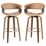 Glitzhome,LLC - PU Leather/bentwood Swivel Bar Chair, Set of 2, Camel - Seamless blending into your existing decor, this barstool set is a perfect addition to any home or any place. It is not only elegantly designed with 360 degree swivel carefully crafted in top-quality oak wood finish, but also expertly upholstered with deluxe faux leather. It features ergonomic design with padded seat and back, curved bentwood legs, a built-in chrome footrest for iconically mid-century morden look.