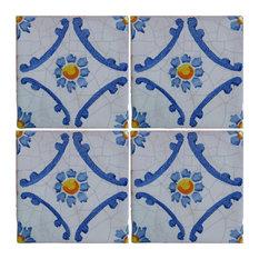 Piastrelle Maiolica Delicate Blue Terracotta Tiles, Set of 4