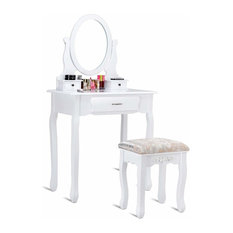 Contemporary Vanity Table Set, Mirror, Cushioned Stool and 3-Drawer