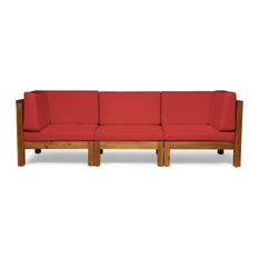 GDF Studio Keith Outdoor 3-Seater Acacia Wood Sectional Sofa Set, Teak/Red