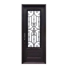 """Estrella 39""""x81"""" Wrought Iron Door, 6"""" Jamb, Aged Bronze Patina, Aged Bronze Pat"""