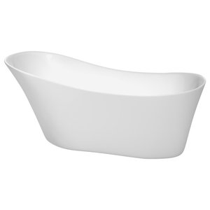 67 inch Freestanding Bathtub in White,Brushed Nickel Drain and Overflow Trim