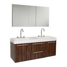 Opulento 54-inch Walnut Modern Double Sink Bathroom Vanity With Medicine Cabinet