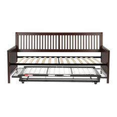 Mission Complete Wood Daybed With Euro Top Deck and Trundle Bed Pop-Up Frame