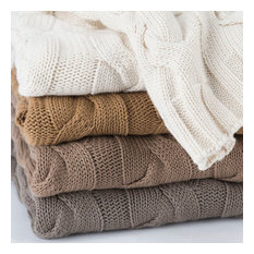 Organic Cable Knit Throw Blanket, Camel