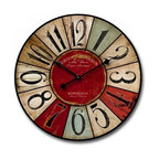 Distressed Wall Clock, Multicolor
