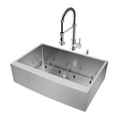 "VIGO All-In-One 33"" Bedford Stainless Steel Farmhouse Kitchen Sink Set"