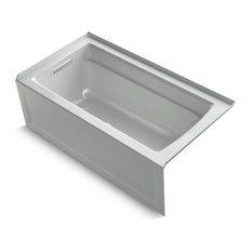 "Kohler Archer 60"" X 32"" Alcove Bath w/ Integral Apron, Left-Hand Drain, Ice Grey"