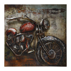 Motorcycle 2 Primo Mixed Media Hand Painted 3D Metal Wall Art
