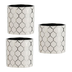 """Set of 3 Silver and White Ogee Planter D5x5"""""""
