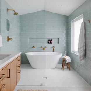 Пример оригинального дизайна: ванная комната в стиле ретро