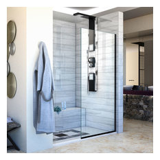 "Linea Single Panel Frameless Shower Screen 34""x72"", Open Design, Satin Black"