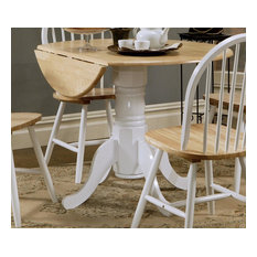 Emma Mason Signature Julian Round Drop Leaf Dining Table In White And Natural Fi