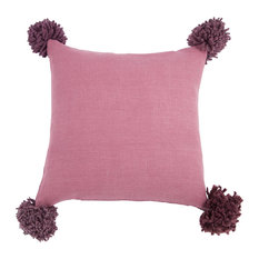 Pom Pom Cushion Cover, Pink, Medium