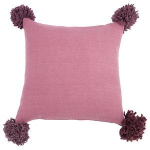 Pom Pom Cushion Cover, Pink, Medium