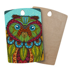 """Art Love Passion """"Owl"""" Teal Multicolor Wooden Cutting Board, Rectangle"""