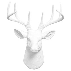 Ideal Contemporary Wall Sculptures by White Faux Taxidermy