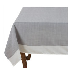 """Grey and White Two Tone Banded Border Tablecloth, 67""""x104"""""""