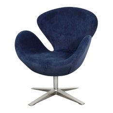 New Pacific Direct Inc. - Beckett Swivel Chair, Midnight Blue - Armchairs and Accent Chairs