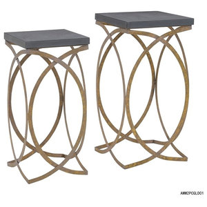 6fbef11198e0 Set Of Two Concrete Like Gold Nesting Tables Gold