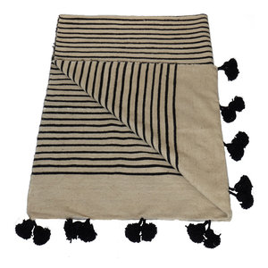 Moroccan Wool Pom Pom Striped Blanket, Natural and Black