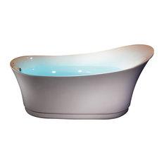 6 Foot White Free Standing Air Bubble Bathtub