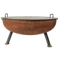"""Heavy Duty Fire Pit Bowl, 36"""" With Snuffer Lid"""