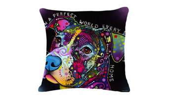 Colorful Dog Cartoon Pillow Case Kaleidoscope Design, 5